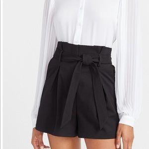 express black pleated shorts